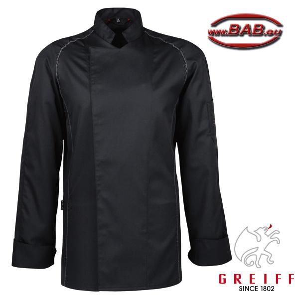 greiff 5550 kochjacke in schwarz mit logo auf der armtasche. Black Bedroom Furniture Sets. Home Design Ideas