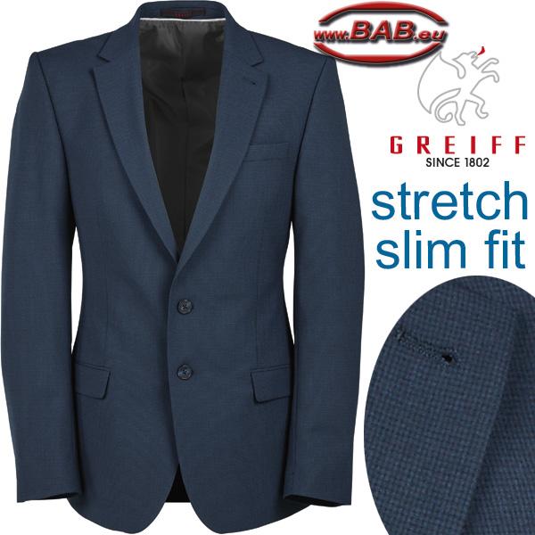 7c0e30ecdaf007 Greiff 1108 Premium Herren Sakko mit Rückenschlitz, Slim Fit