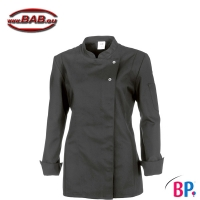 BP 1544 Damenkochjacke in grau, langarm, mit Stretch