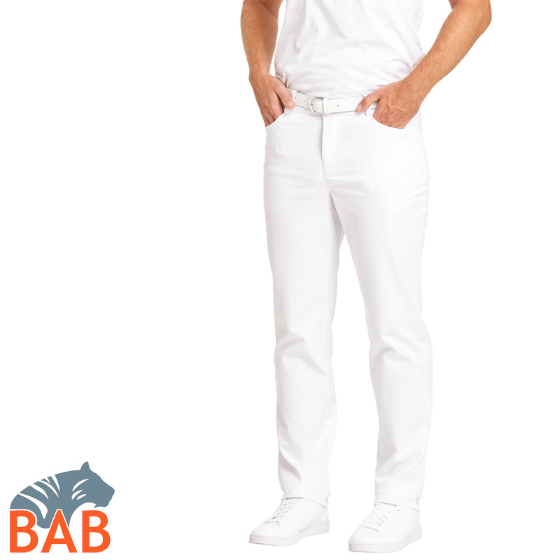 Leiber 12-7060 Herrenhose mit Stretch, 5-Pocket-Form in weiss