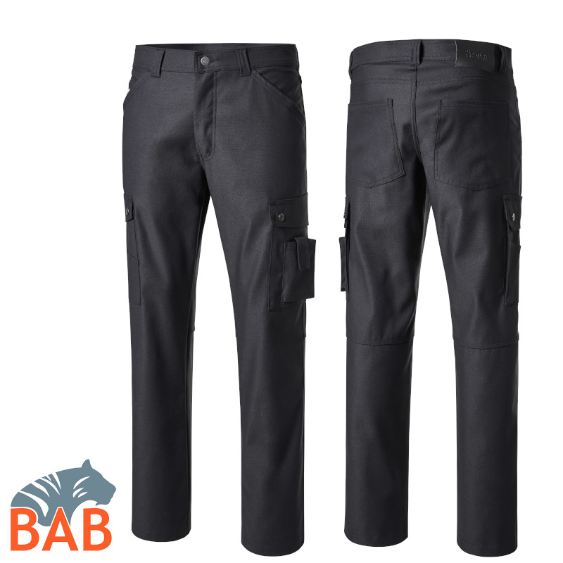 P-2257 Cargo Stretchhose in Five Pocket Form in Schwarz