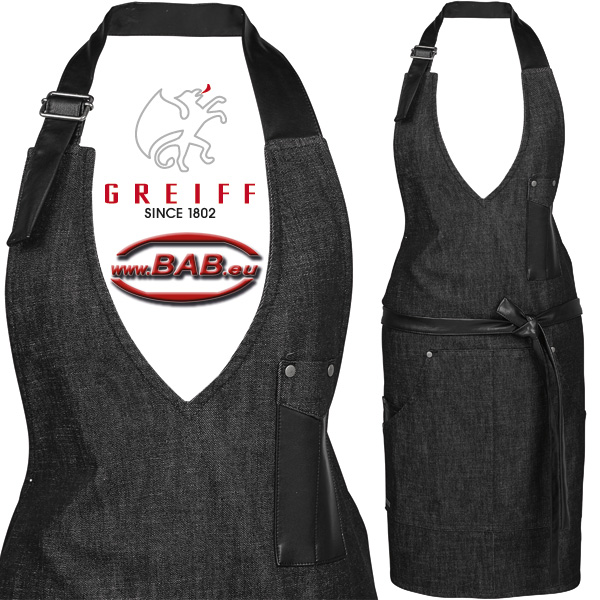 Greiff 40425 Damen Latzschürze in Black Denim, 70x65