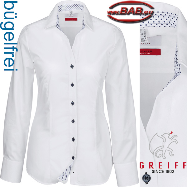 Greiff Premium 65041 Damenbluse Regular Fit mit Logo Stickerei