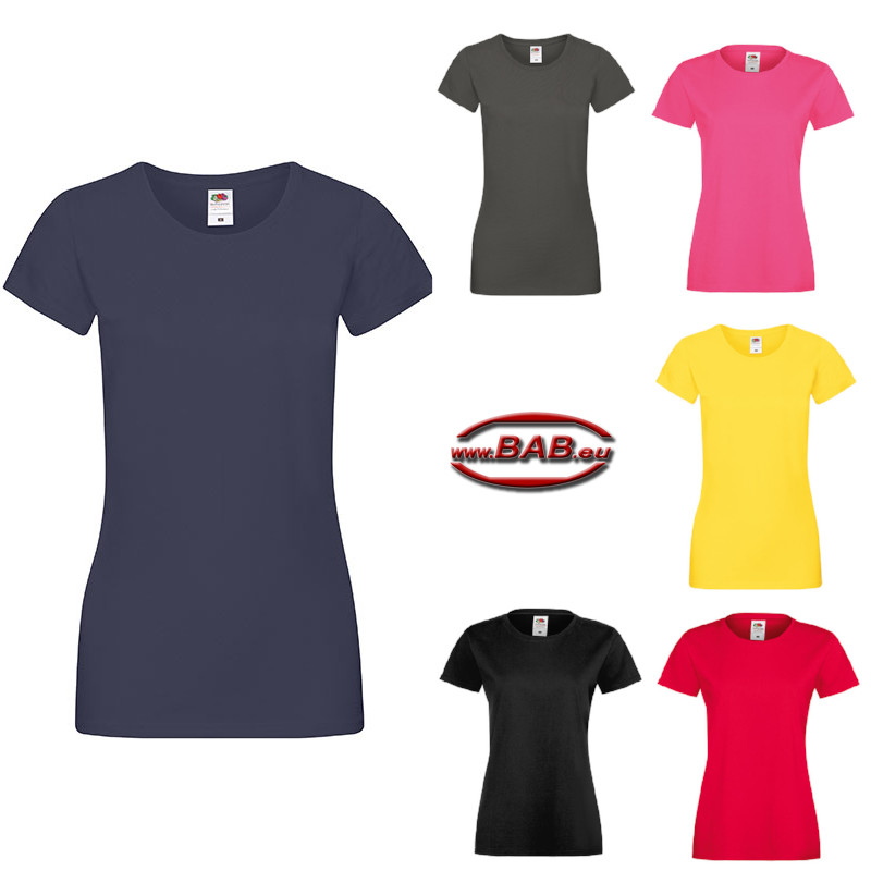 Halbarm Damen Shirt Sofspun® in red, navy, yellow, black .......
